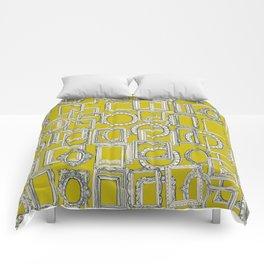 picture frames aplenty indigo chartreuse Comforters