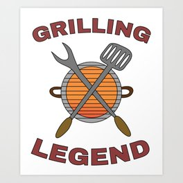 Pitmaster BBQ Barbecue food grill Put my meat in your mouth and swallow design Grilling legend Art Print
