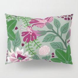 Magenta flowers on grey Pillow Sham