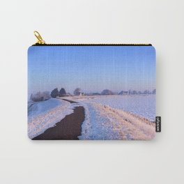 II - Lake and dike at sunrise in winter in The Netherlands Carry-All Pouch