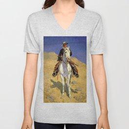"""Self Portrait on a Horse"" by Frederick Remington Unisex V-Neck"