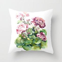 Watercolor pink geranium flowers aquarelle Throw Pillow