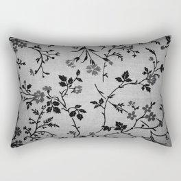 Texture vintage floral pattern elegant flowers gray fabric Rectangular Pillow