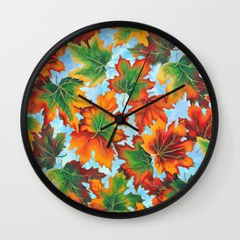 Autumn maple leaves II Wall Clock