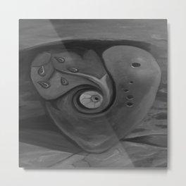 Heart by Lu, black-and-white Metal Print