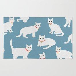 White cats / Illustration / Pattern Rug