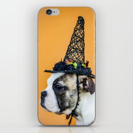 Beautiful Profile of a Bulldog Wearing a Witch Hat for Halloween iPhone Skin