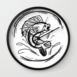 Inked out Fish Wall Clock