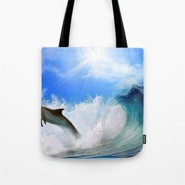 Beautiful Gracious Dolphin Jumping Waves HD Tote Bag