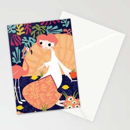 Girl with flamingo and Henri Matisse inspired decoration, vector illustration, blue Stationery Cards