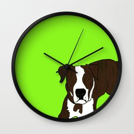 Chico the Brindled Pit Bull Wall Clock