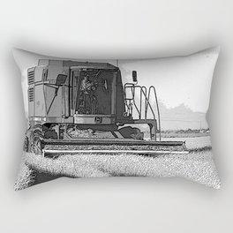 Black & White Harvesting Equipment Pencil Drawing Photo Rectangular Pillow