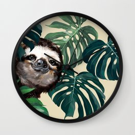 Sneaky Sloth with Monstera Wall Clock