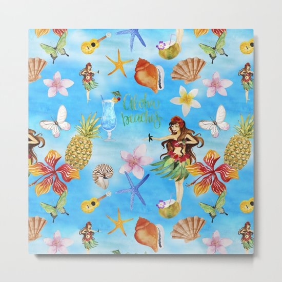 Aloha Beach Party Pattern with Hulagirl  on #Society6 Metal Print