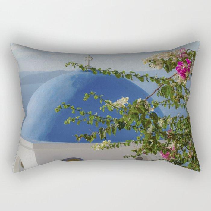 Blue dome church and flowers in Santorini, Greece Rectangular Pillow