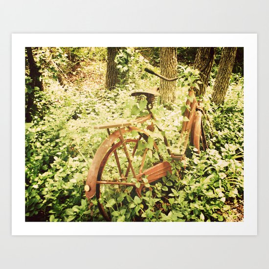 Ole Rusty Bicycle Abandoned Urban Exploration Urbex Taken Over by Nature  Art Print