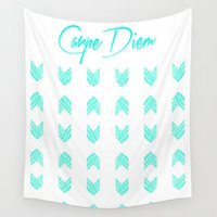 carpe diem Wall Tapestries featuring Carpe Diem by Compassion and Chaos