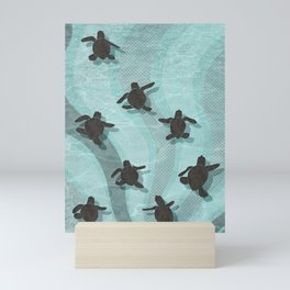 Loggerhead sea turtle hatchlings Mini Art Print