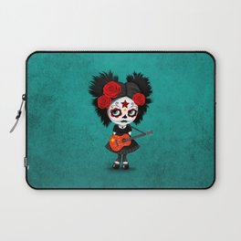 Day of the Dead Girl Playing Chinese Flag Guitar Laptop Sleeve