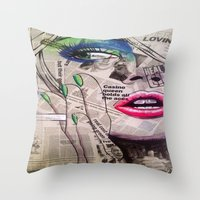 newspaper Throw Pillows featuring NewsPaper  by cchelle135