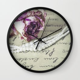 love letter with pearls and rose Wall Clock
