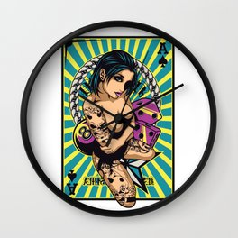 Sexy GIRL ON ACE with Tattoo - VIOLET Wall Clock