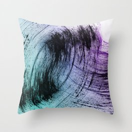 Wide Sweeping Black Brushstrokes with Aqua and Purple Throw Pillow