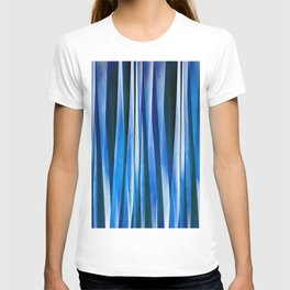 Harmony and Peace Blue Striped Abstract Pattern T-shirt