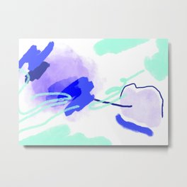 Mint and cobalt abstraction Metal Print