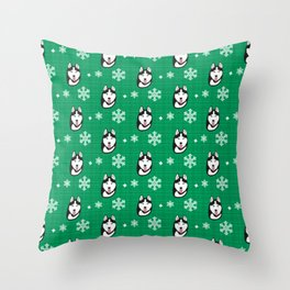 Husky on Winter Holiday Pattern(green) Throw Pillow