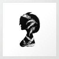 Owlphelia Silhouette Art Print