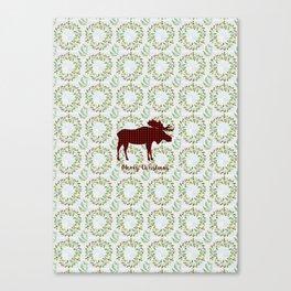 Winter Wreath Merry Christmas Red Buffalo Plaid Reindeer Canvas Print