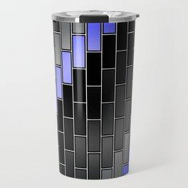 BRICK WALL #2 (Black, Grays & Light Blue) Travel Mug