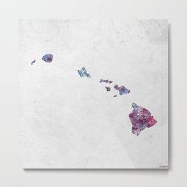 Hawaii map cold colors Metal Print