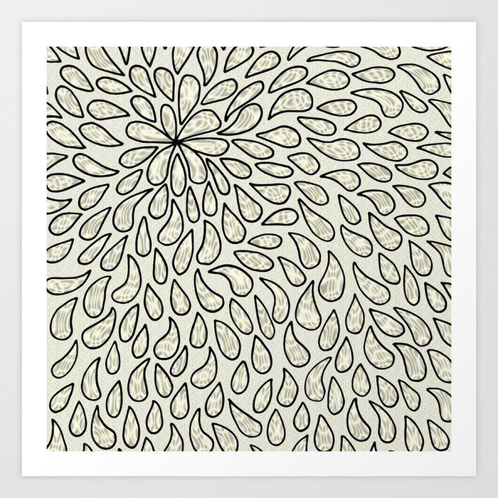 Pearlised Drops - Ivory Art Print