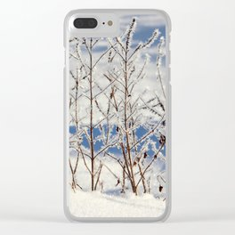 Ice frozen on plants with ice on background Clear iPhone Case