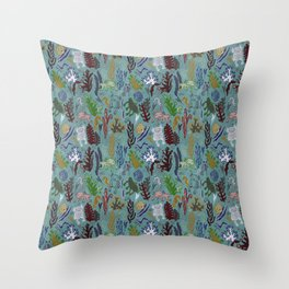 Strange creatures in the seabed. turquoise and pink. Throw Pillow