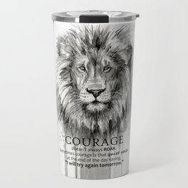 Lion Courage Motivational Quote Watercolor Painting Travel Mug