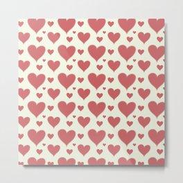 Vintage chic pastel red ivory romantic valentine's hearts Metal Print