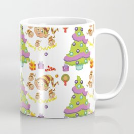Hand painted green red Merry Christmas holiday typography pattern Coffee Mug