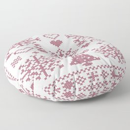 Christmas Cross Stitch Embroidery Sampler Pink And White Floor Pillow