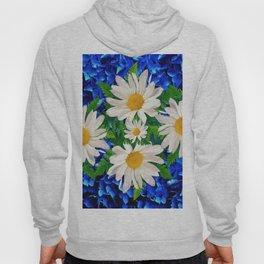 WHITE DAISY FLOWERS ON BLUE ART Hoody