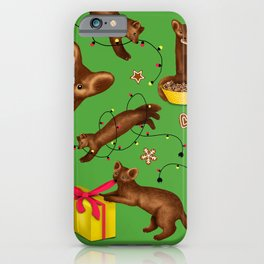 Sables' Christmas Mischief Pattern (Green Background) iPhone Case