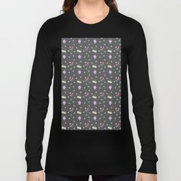 cakes yellow pink dot sundaes grey Long Sleeve T-shirt