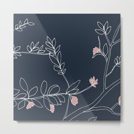 Flora, White and Pink on Navy Blue Metal Print