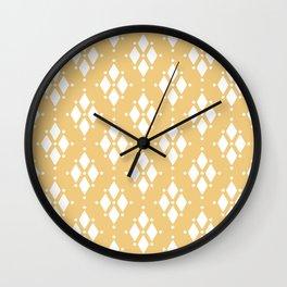 Rhombus diamond shapes boho tribal pattern sand beige Wall Clock