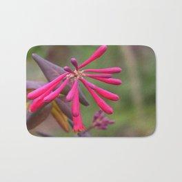Trumpet Honeysuckle - Buds of Coral Woodbine  Bath Mat