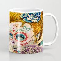 fitzgerald Mugs featuring Dia de los Muertos Roses by Cathy FitzGerald