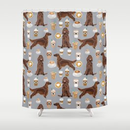 Irish Setter coffee latte dog breed cute custom pet portrait for dog lovers Shower Curtain