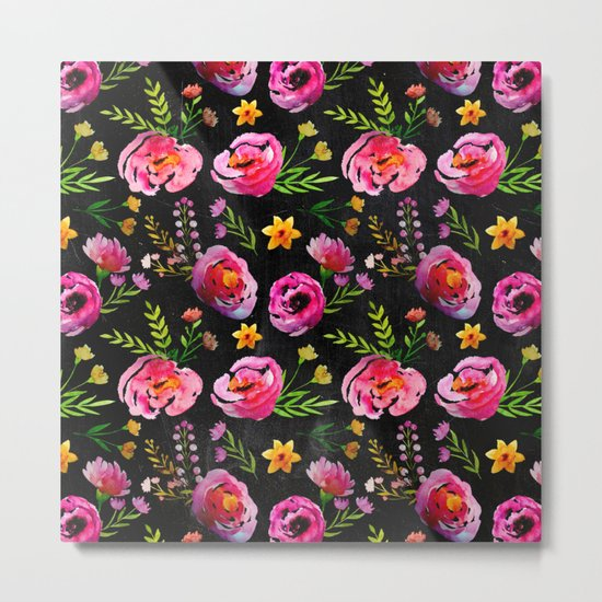 Vibrant Poppy Pattern Metal Print